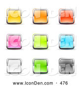 Clip Art of a Calm Set of Nine Yellow, Pink, White, Orange, Green, Red, Blue and Black Square Button Icons Bordered in Chrome by Beboy