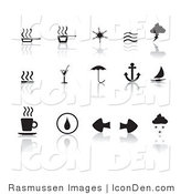 Clip Art of a Collection Fifteen of Black Misc Icons on a Reflective White Background by Rasmussen Images