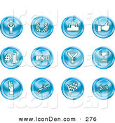 Clip Art of a Collection of 12 Blue Icons of a Winner, Laurel, Victory, Thumbs Up, Number 1, Handshake, Medal, Trophy, Champagne, Racing Flag and Wine by AtStockIllustration