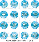 Clip Art of a Collection of 16 Blue Entertainment Icons of a Video Camera, Microphone, Magic Trick, Billiards, Blimp, Electric Guitar, Museum, Clapboard, Film Strip, Theatre Mask, Painting, Circus Tent, Basketball, Tv, and Music by AtStockIllustration