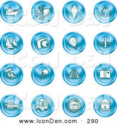 Clip Art of a Collection of 16 Blue Icons by AtStockIllustration