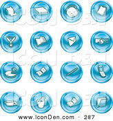 Clip Art of a Collection of 16 Blue Icons of a Cash Register, Book, Customer Service, Medal, Envelope, Handshake, Pie Chart, Pen, Cell Phone, Credit Card, and Folder by AtStockIllustration