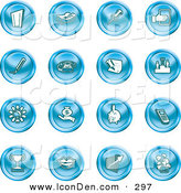 Clip Art of a Collection of 16 Blue Icons of a Door, Tape Dispenser, Tack, Pencil, Phone, Champion, Lightbulb, Money Bag, Piggy Bank, Cell Phone, Trophy, Lips, Chart, and Plant on White by AtStockIllustration