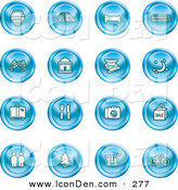 Clip Art of a Collection of 16 Blue Icons of a Hotel, Road by Train Tracks, Bed, Bus, Wine Glasses, Tickets, Moon, Luggage, Diner, Camera, Shopping, Restrooms, Tree, Shopping Carts and Bicycle by AtStockIllustration
