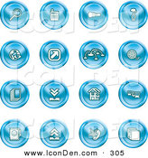 Clip Art of a Collection of 16 Blue Icons of a Magnifying Glass, Cash Register, Flashlight, Internet, Film, Upload, Download, Home Page, and Connectivity on White by AtStockIllustration