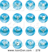 Clip Art of a Collection of 16 Blue Icons of a Magnifying Glass, Email, Home Page, Upload, Download, Mouse, Key, Disc, Padlock, Speaker, Www, Questionmark, and Exclamation Point by AtStockIllustration