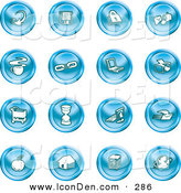 Clip Art of a Collection of 16 Blue Icons of an Arrow, Floppy Disc, Padlock, Mail, Coffee, Link, Laptop, Printer, Shopping Cart, Hourglass, Computer, Email, Apple, House, Camera and Globe by AtStockIllustration