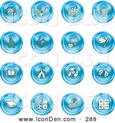 Clip Art of a Collection of 16 Blue Icons of Music Notes, Guitar, Clapperboard, Atom, Microscope, Atoms, Messenger, Painting, Book, Circus Tent, Globe, Masks, Sports Balls, and Math by AtStockIllustration