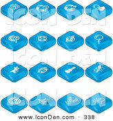 Clip Art of a Collection of 16 Blue Internet Search Tablet Icons of Magnifying Glasses, a Viewfinder, Flashlight and Spider on White by AtStockIllustration