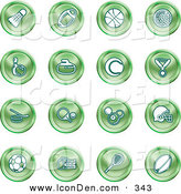 Clip Art of a Collection of 16 Green Athletics Icons of a Badmitten Shuttlecock, Football, Basketball, Golf Ball, Bowling, Curling Stone, Tennis, Medal, Hockey, Ping Pong, Billiards, Football Helmet, Soccer Ball, Boxing, and Rugby by AtStockIllustration
