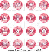 Clip Art of a Collection of 16 Round Red Icons of the Www, Connectivity, Networking, Upload, Downloads, Computers, Messenger, Printing, Clapperboard and Email by AtStockIllustration