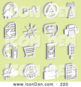 Clip Art of a Collection of 16 White Icons on Yellow by AtStockIllustration