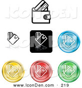 Clip Art of a Collection of 7 Different Colored Wallet Icon Buttons by AtStockIllustration