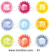 Clip Art of a Collection of 9 Pink, Red, Yellow, Purple, Blue, Orange, and Green Flower or Sun Icons on a White Background by Elaineitalia