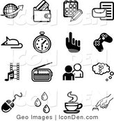 Clip Art of a Collection of Black and White Business Icons by AtStockIllustration