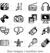 Clip Art of a Collection of Black and White Film Icons by AtStockIllustration