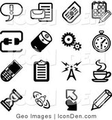 Clip Art of a Collection of Black and White Icons on a White Background by AtStockIllustration