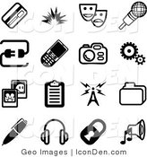 Clip Art of a Collection of Black and White Media Icons by AtStockIllustration
