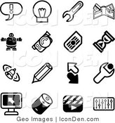 Clip Art of a Collection of Black and White Random Icons by AtStockIllustration