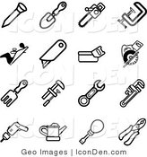 Clip Art of a Collection of Black and White Tool Icons by AtStockIllustration