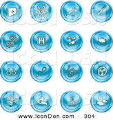 Clip Art of a Collection of Blue Icons of Medicine, Science and Biology on White by AtStockIllustration