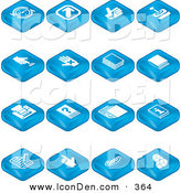 May 25th, 2013: Clip Art of a Collection of Blue Square Tablet Icons of Arrows, Joystick, Button, Book, Printer, Questions, Information, Compose, Reminder, Calculator and Cubes by AtStockIllustration