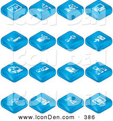 Clip Art of a Collection of Blue Tablet Tile Icons of a Chart, Connectivity, Networking, Computers, Wireless Internet, and Cables by AtStockIllustration
