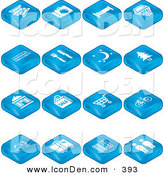 Clip Art of a Collection of Blue Tile Tablet Icons of Tickets, Camera, Bed, Hotel, Bus, Diner, Moon, Tree, Building, Shopping, Bicycles, Wine, Luggage, Railroads and Roads and Restrooms by AtStockIllustration