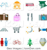 Clip Art of a Collection of Color Travel Icons on a White Background by AtStockIllustration
