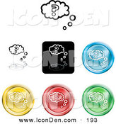 Clip Art of a Collection of Different Colored Question Icon Buttons on WhiteCollection of Different Colored Question Icon Buttons on White by AtStockIllustration