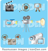 Clip Art of a Collection of Eight Filming Picture Icons on a Blue Background by Rasmussen Images