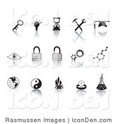 Clip Art of a Collection of Fifteen Black Random Icons on a Reflective Solid White Background by Rasmussen Images