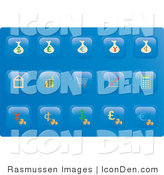 Clip Art of a Collection of Fifteen Financial Button Icons on a Blue Background by Rasmussen Images