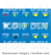 Clip Art of a Collection of Fifteen Media Button Icons on a Solid Blue Background by Rasmussen Images