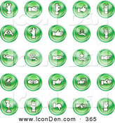 Clip Art of a Collection of Green Coin Hand Gesture Icons by AtStockIllustration