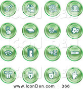 Clip Art of a Collection of Green Coin Icons of a Bomb, Computer, Letter, Magnifying Glass, Book, Film, Cogs, Eye, Door, Flashlight, Messenger, Padlocks and Reminder by AtStockIllustration