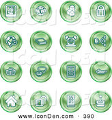 Clip Art of a Collection of Green Coin Shaped Icons of a Polaroid, News, Cubes, Padlock, Www, Search, Book, Alarm Clock, Connectivity, Messenger, Speaker, Calculator, Home, Blog and Joystick by AtStockIllustration