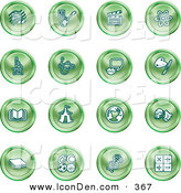 Clip Art of a Collection of Green Coin Shaped Icons of Music Notes, Guitar, Clapperboard, Atom, Microscope, Atoms, Messenger, Painting, Book, Circus Tent, Globe, Masks, Sports Balls, and Math by AtStockIllustration