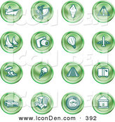 Clip Art of a Collection of Green Coin Shaped Icons of on a White Background of Travel and Transport by AtStockIllustration