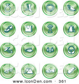 May 18th, 2013: Clip Art of a Collection of Green Fashion Icons of Clothing, Accessories, and Jewelry by AtStockIllustration