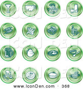 Clip Art of a Collection of Green Food Icons of a Martini, Pigs, Fish, Juice, Kebobs, Corn, Wine, Beer, Chicken, Breakfast, Fruit, Bread, Meal, Burger and Cheese over White by AtStockIllustration