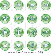 Clip Art of a Collection of Green House Icons by AtStockIllustration