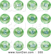Clip Art of a Collection of Green Planning Icons by AtStockIllustration