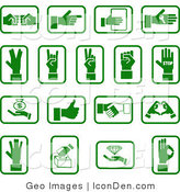 Clip Art of a Collection of Green Sign Language Hand Icons on White by AtStockIllustration