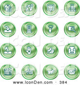 Clip Art of a Collection of Green Sphere Icons of Computer, Internet, Email, Technology Items by AtStockIllustration