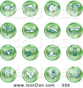 May 5th, 2013: Clip Art of a Collection of Green Work Icons by AtStockIllustration