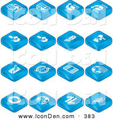 Clip Art of a Collection of Many Blue Web Browser Tablet Icons by AtStockIllustration