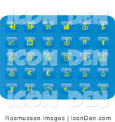 Clip Art of a Collection of Many Yellow Finance Button Icons on a Blue Background by Rasmussen Images