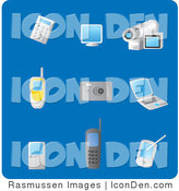Clip Art of a Collection of Nine Gadget Picture Icons on a Solid Blue Background by Rasmussen Images