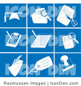 Clip Art of a Collection of Nine White Office Picture Icons on a Tiled Blue Background by Rasmussen Images